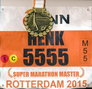 Henks startnummer en medaille
