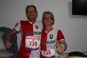In de Feyenoord-shirts, met Henk