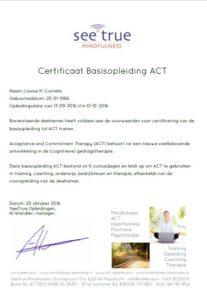 Certificaat ACT-opleiding