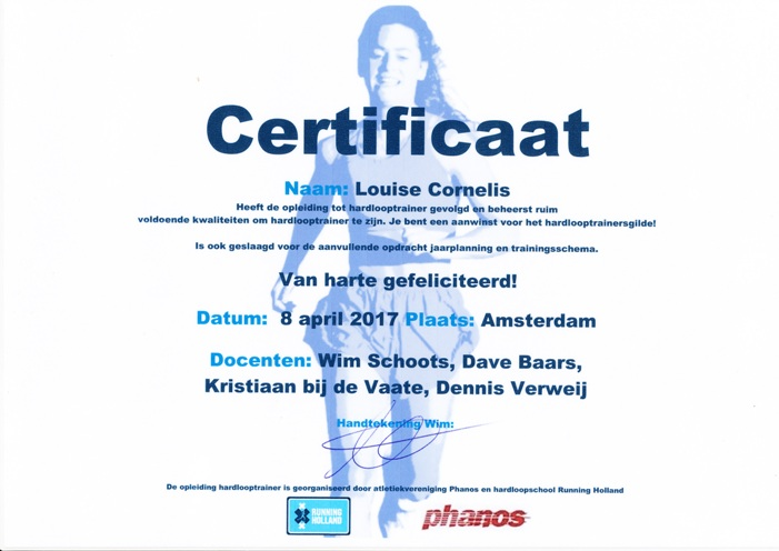 Diploma hardlooptrainer Running Holland