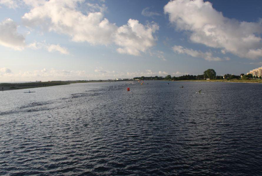 zwemmers in de vroege zon
