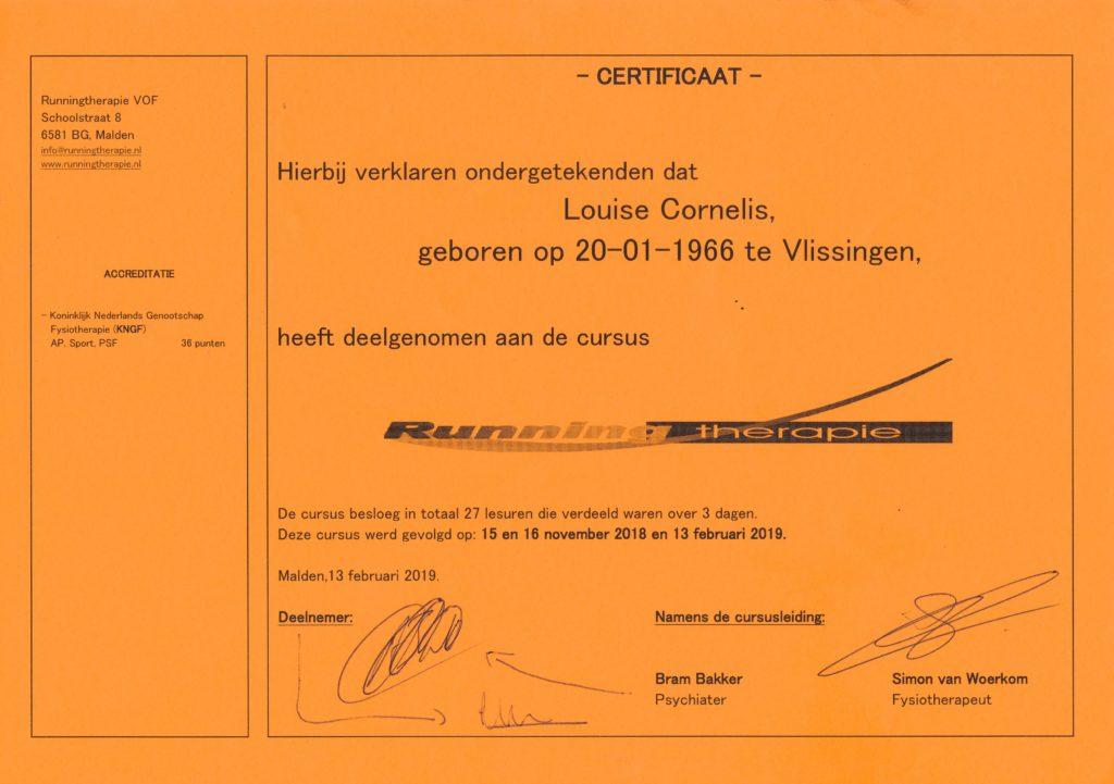 Certificaat opleiding runningtherapie